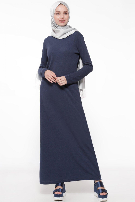 460e8b2039a36 Everyday Basic Lacivert Doğal Kumaşlı Spor Elbise | ElbiseBul