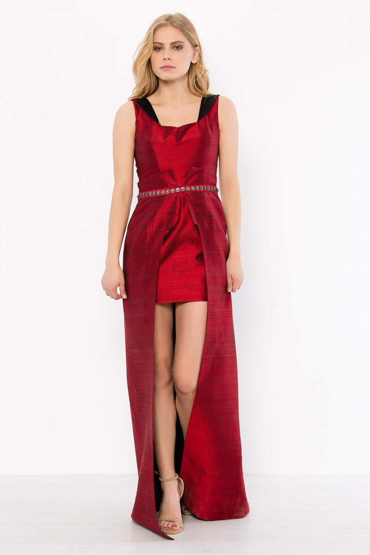 a8901ece575d3 My Dress Shop Bordo İpek Şantuk Siyah Yaka Dönüşlü Özel Tasarım Abiye Elbise