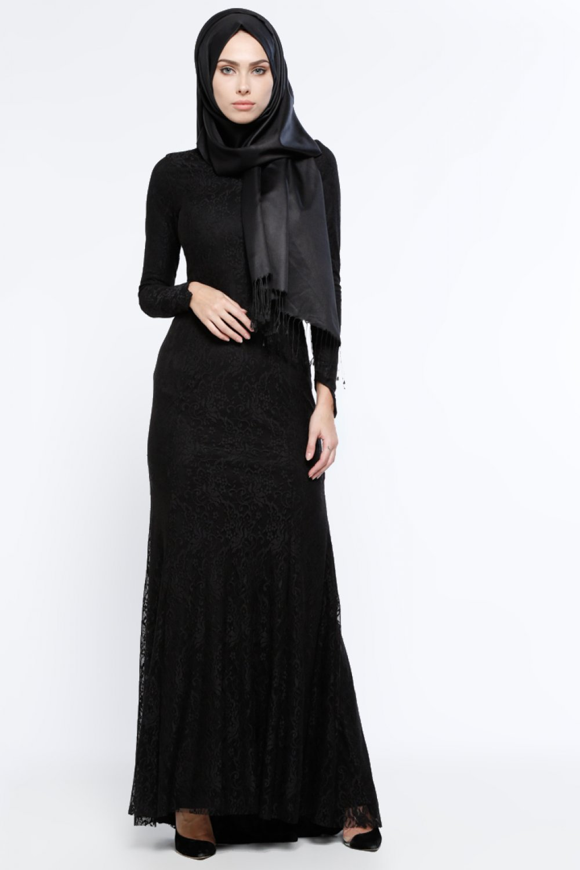 8b0d3e028fbef Mileny Siyah Dantelli Abiye Elbise | ElbiseBul
