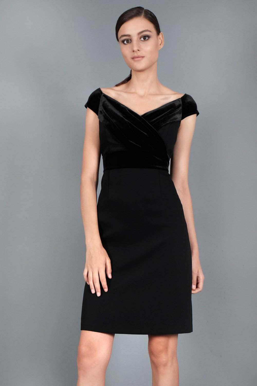 e44f7c8807823 Spazio Farbe Krep Kısa Mini Abiye Elbise | ElbiseBul