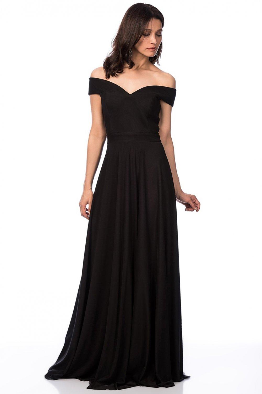 aa475be20bb63 İroni Kayik Yaka Tül Uzun Siyah Abiye Elbise | ElbiseBul