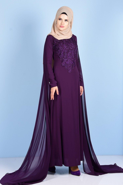 d2ec9cd9b8c67 Sefamerve Mor Dantel Detaylı Abiye Elbise | ElbiseBul