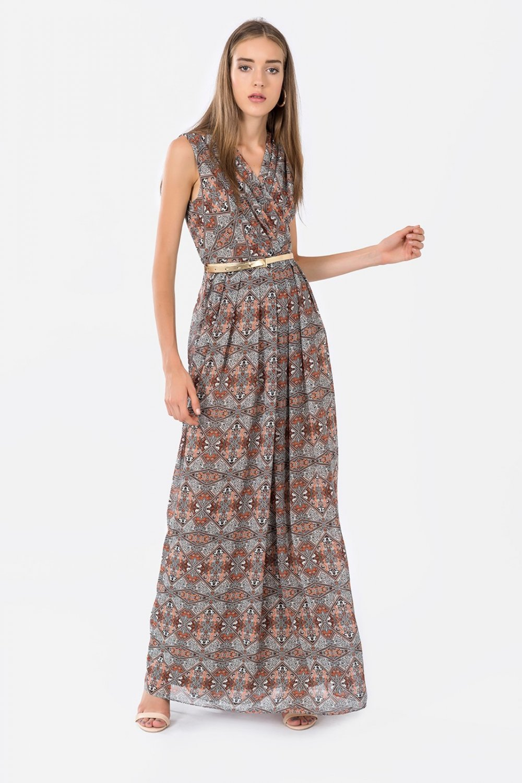 076bea5dd4bd1 İroni Kahverengi Pileli Kiremit Kruvaze Uzun Elbise | ElbiseBul