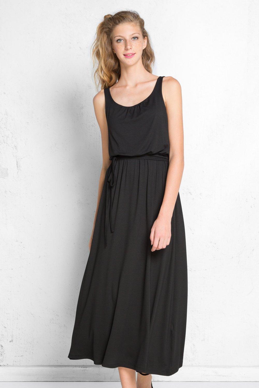 78fbfd9fdb824 Setmoda Siyah Viskon Askılı Beli Lastikli Uzun Elbise | ElbiseBul