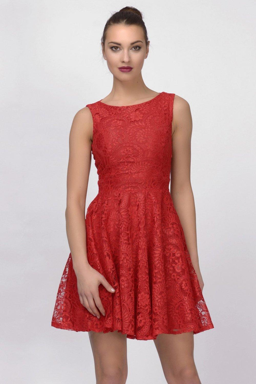db93fccc6a12a İroni Mavi Dantel Kırmızı Kloş Mini Abiye Elbise   ElbiseBul