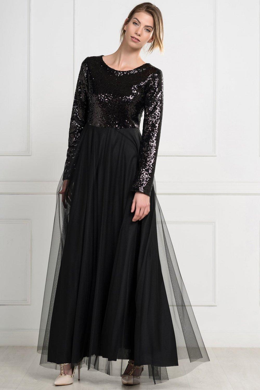 2eec84094ceb6 İroni Mor Üstü Payet Tül Uzun Siyah Abiye Elbise | ElbiseBul