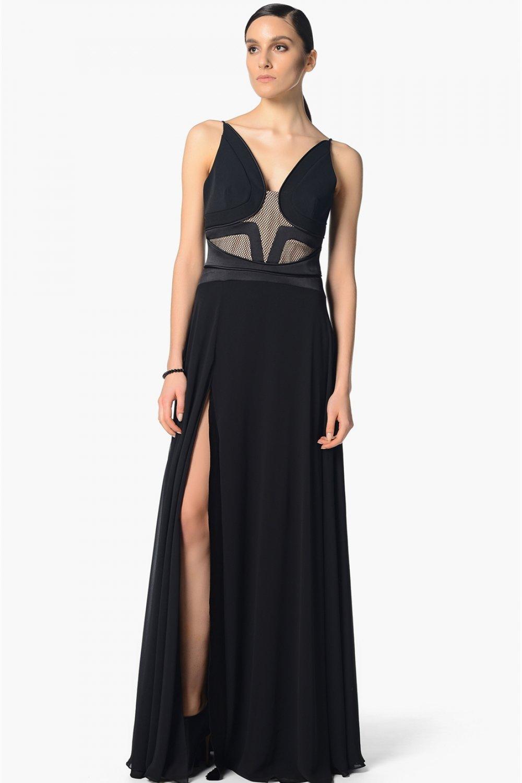8f60e86ebbbe3 Network Askılı Siyah Uzun Abiye Elbise | ElbiseBul
