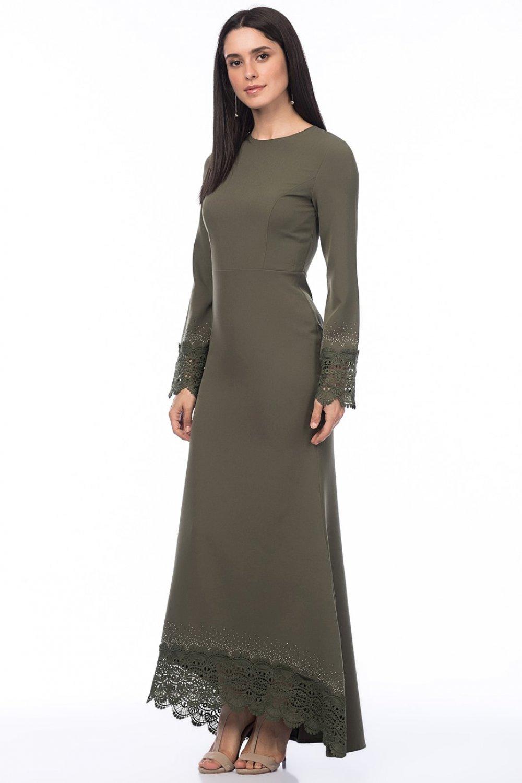 628fa85b8de7f İroni Yeşil Güpür Ve Taşli Haki Uzun Abiye Elbise | ElbiseBul