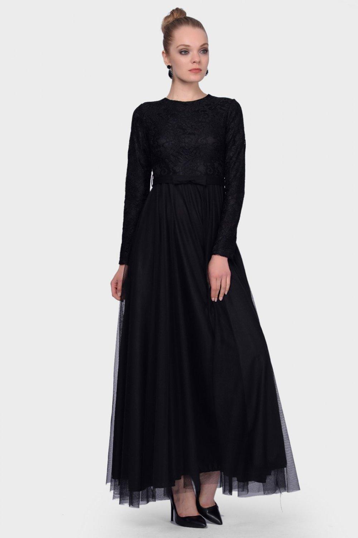 7b4d6dfcd3f5e İroni Üstü Dantel Altı Tül Uzun Siyah Abiye Elbise | ElbiseBul