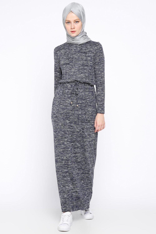44089c4f98c6e Beha Tesettür Lacivert Beli Bağcıklı Spor Elbise | ElbiseBul