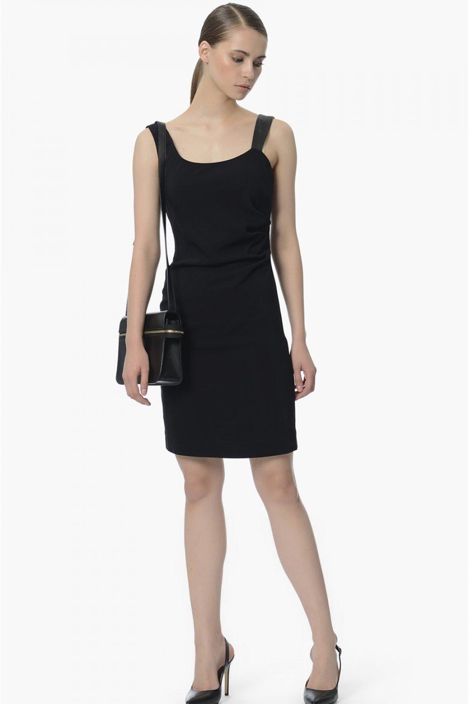 d415534603383 Network Askılı Siyah U Yaka Mini Elbise | ElbiseBul