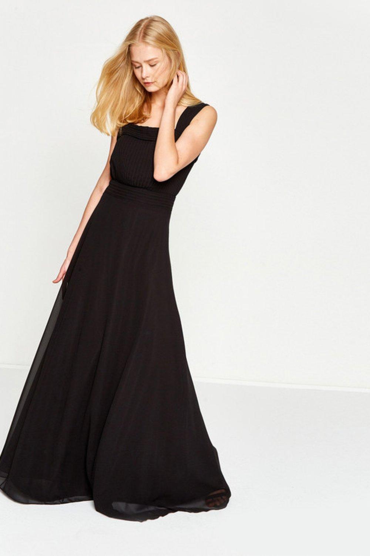 fba2aafb4fece Koton Askılı Dilek Hanif Siyah Uzun Abiye Elbise   ElbiseBul