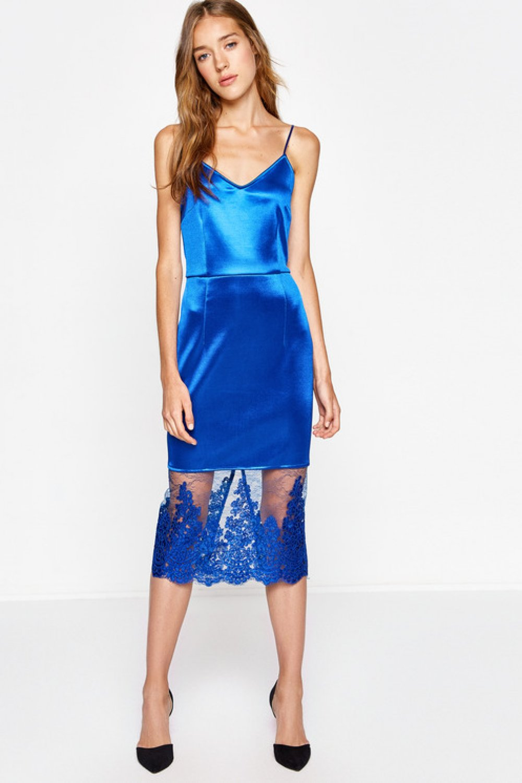 d1c58b3ff20c5 Koton Askılı Dantel Detaylı Saks Mavi Midi Abiye Elbise | ElbiseBul