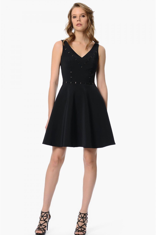 c6dc9fa46ac30 Network V Yaka Siyah Mini Elbise | ElbiseBul