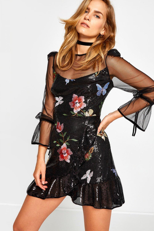 4c2dbed498cec Koton Zeynep Tosun for Koton Siyah Mini Abiye Elbise | ElbiseBul