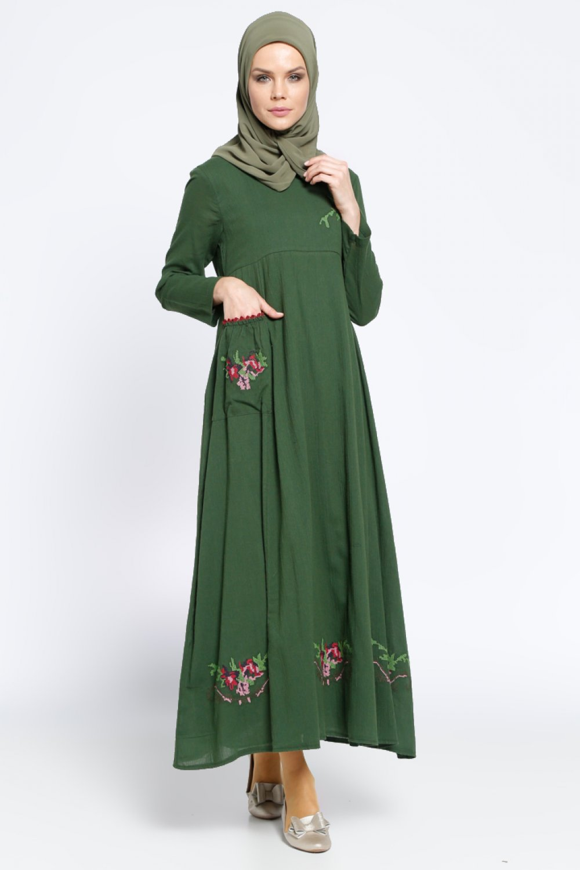 acd33e7eda908 Çıkrıkçı Haki İşlemeli Şile Bezi Yazlık Elbise | ElbiseBul
