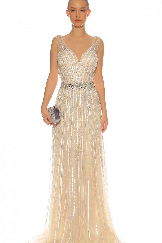 c0c986707aa78 Jovani Krem Rengi Askılı Uzun Abiye Elbise | ElbiseBul