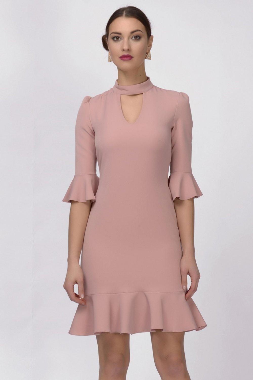 4de7e7cd7dc07 İroni Kol Ve Eteği Volanlı Pudra Mini Abiye Elbise | ElbiseBul
