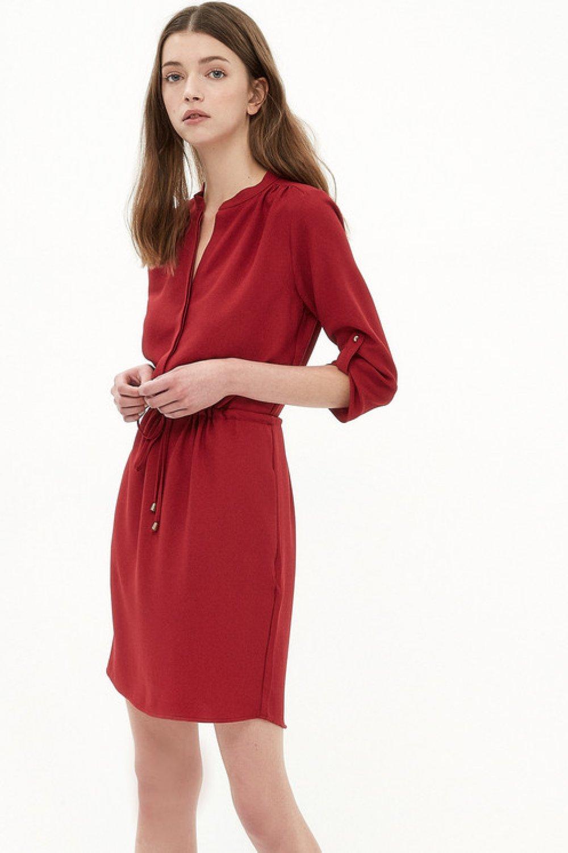 e762a5f60f182 Koton Beli Bağlamalı Bordo Mini Elbise | ElbiseBul