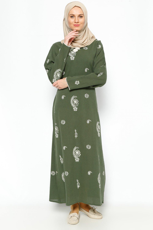 59bdd96029cb6 Çıkrıkçı Haki Şile Bezi Baskılı Yazlık Elbise | ElbiseBul