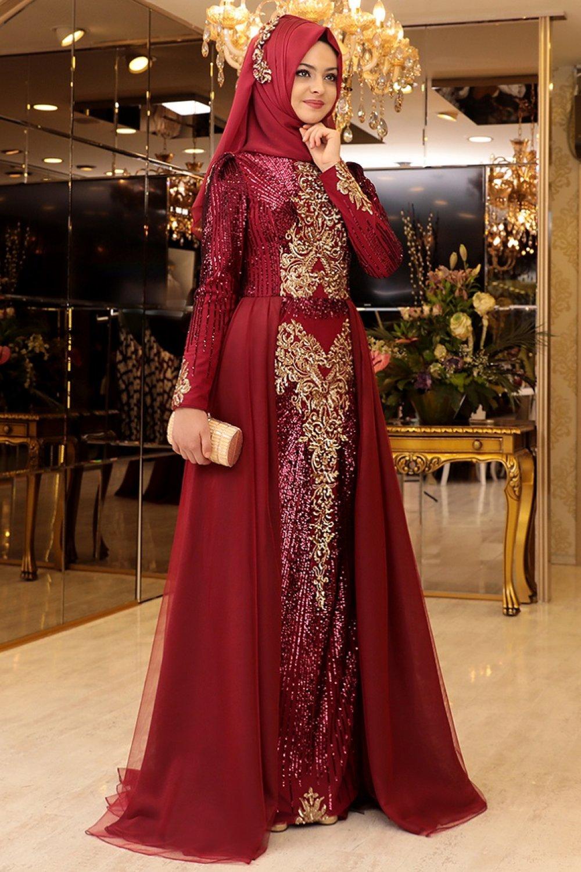 e482a4ba3339a Pınar Şems Bordo Güneş Abiye Elbise | ElbiseBul