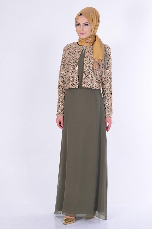 8c606ce99118d Sefamerve Haki Yeşil Ceketli Abiye Elbise | ElbiseBul