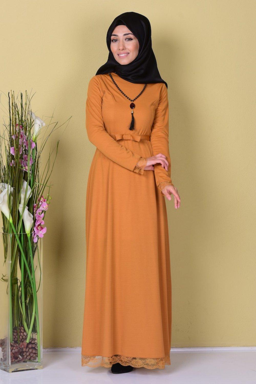 97fd80a533a9c Sefamerve Hardal Dantel Detaylı Kemerli Elbise | ElbiseBul