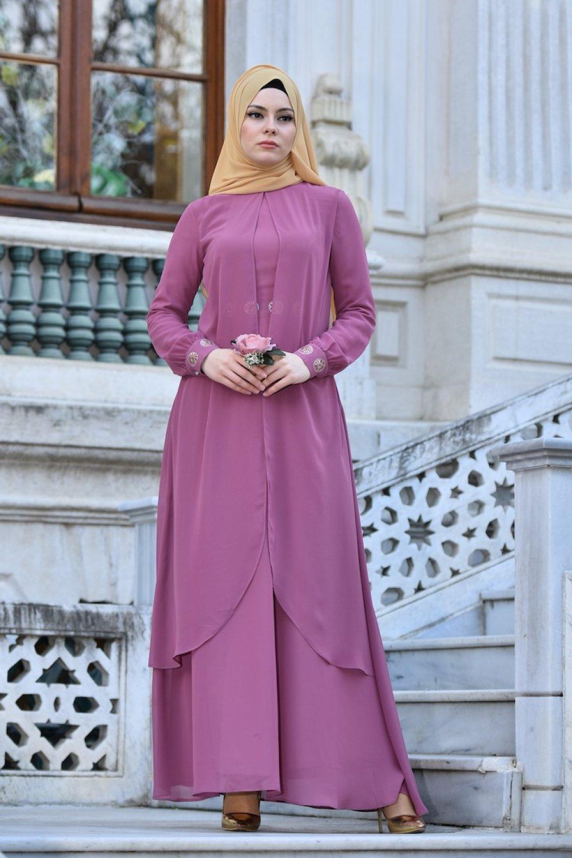 d95af1bc3d7c4 Sefamerve Gül Kurusu Taş Baskılı Şifon Abiye Elbise | ElbiseBul