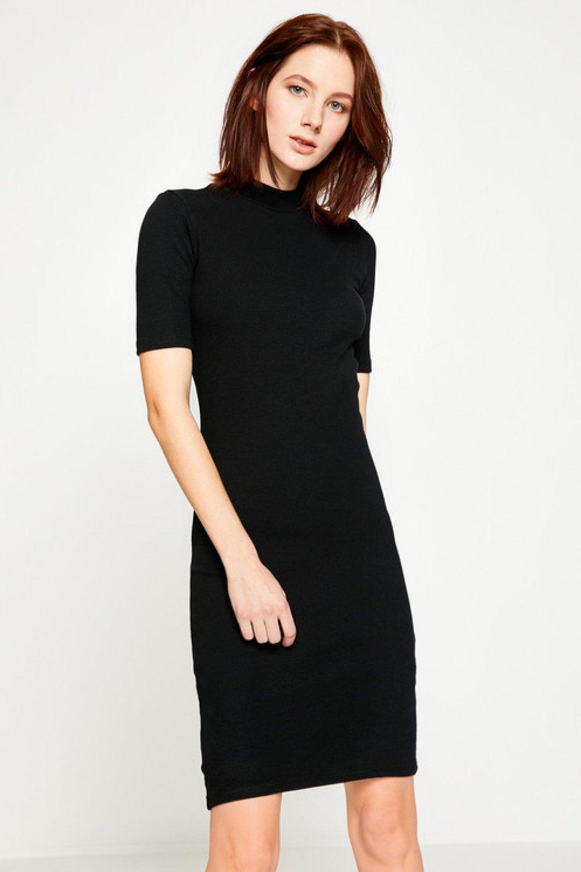 91fa84621fe52 Koton Dar Kesim Siyah Mini Elbise | ElbiseBul