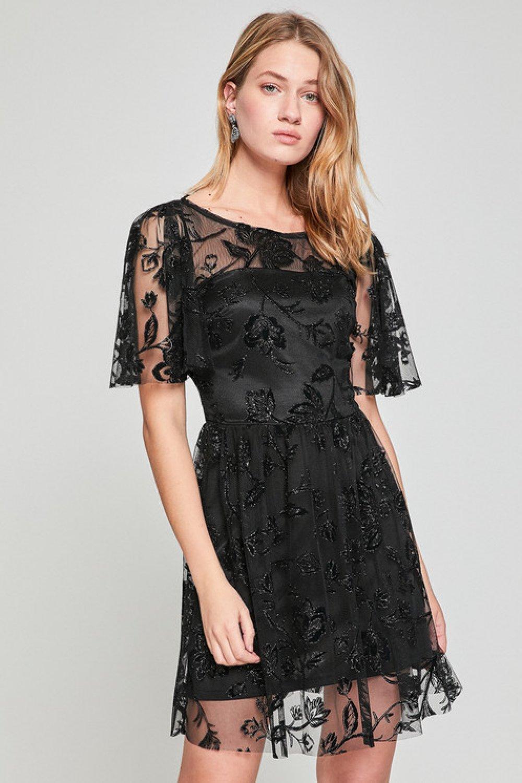 00ef92396a9d0 Koton Dantel Detaylı Siyah Mini Abiye Elbise | ElbiseBul