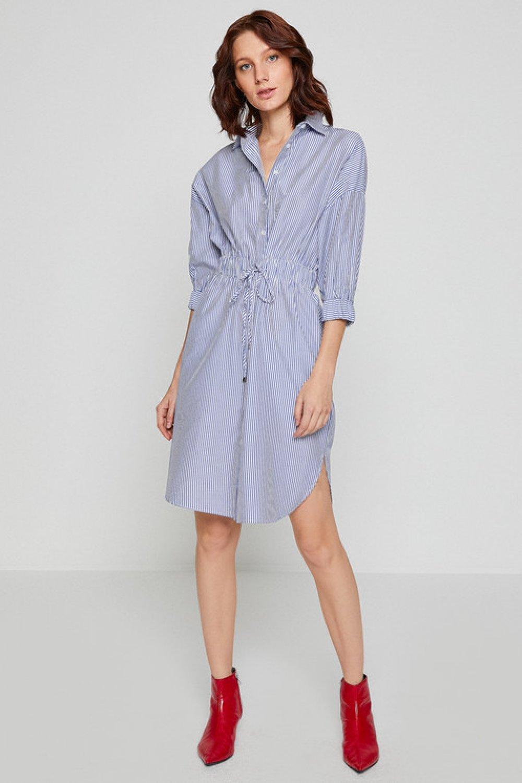 308874b80d833 Koton Lacivert Çizgili Çizgili Lacivert Midi Elbise | ElbiseBul