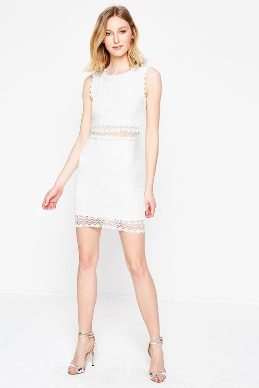 d29c9d8a080fb Koton Dantel Detaylı Beyaz Mini Abiye Elbise | ElbiseBul