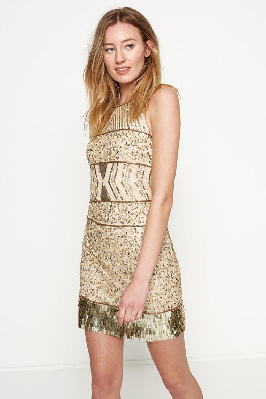 8c7d33fd2c197 Koton Pul Detaylı Altın Rengi Mini Abiye Elbise | ElbiseBul