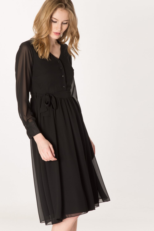 9580cf45be767 Setmoda Siyah Önü Düğmeli Manşetli Şifon Midi Elbise | ElbiseBul