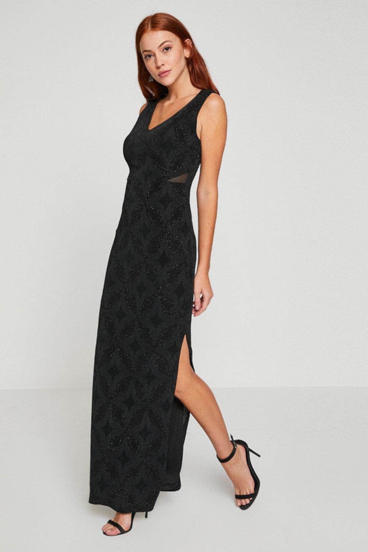 1ed026c5922c2 Koton Sim Detaylı Siyah Uzun Abiye Elbise | ElbiseBul
