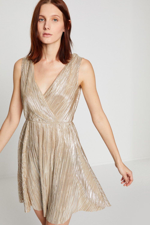 9694b3747b6d6 Koton V Yaka Altın Rengi Mini Abiye Elbise | ElbiseBul