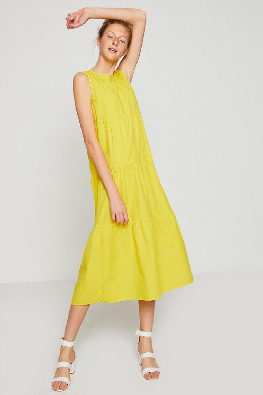 c3dc20a1002e1 Koton Kolsuz Sarı Midi Elbise | ElbiseBul