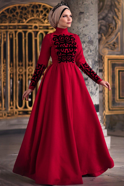 bd6e6a0621925 Muslima Wear Kırmızı Maria Abiye Elbise | ElbiseBul