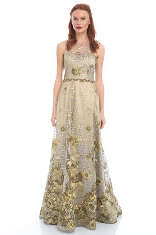 0c4d7fea5930f Pierre Cardin Bej Uzun Abiye Elbise   ElbiseBul
