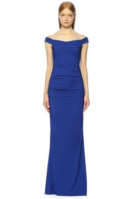 d67915625b9d6 Nicole Miller Mavi Kayık Yaka Uzun Abiye Elbise   ElbiseBul