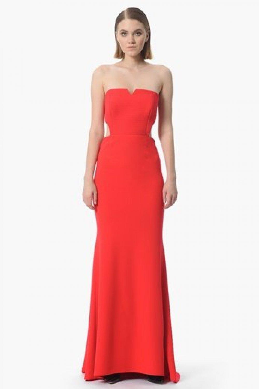08984897fd546 Network Kırmızı Sırt Dekolteli Straplez Uzun Abiye Elbise | ElbiseBul