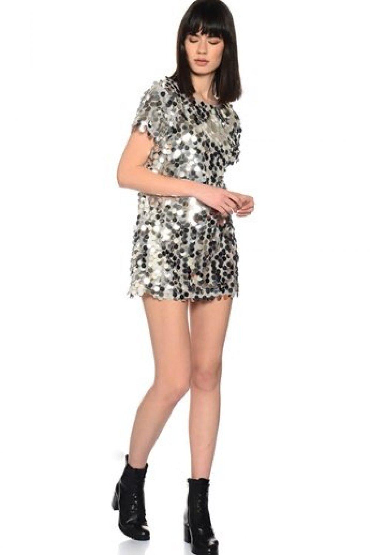 1bb9d36f4c479 Motel Rocks Gümüş Mini Abiye Elbise   ElbiseBul