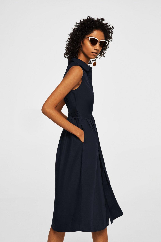b3b4a083e348d Mango Lacivert Kemerli Gömlek Midi Elbise | ElbiseBul
