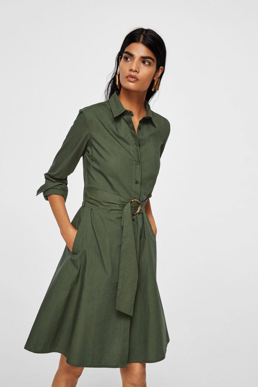 f0d667c1e9c3f Mango Kemerli Gömlek Midi Elbise | ElbiseBul