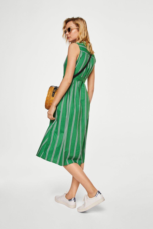 4228d740d205b Mango Yeşil Kemerli Gömlek Midi Elbise | ElbiseBul