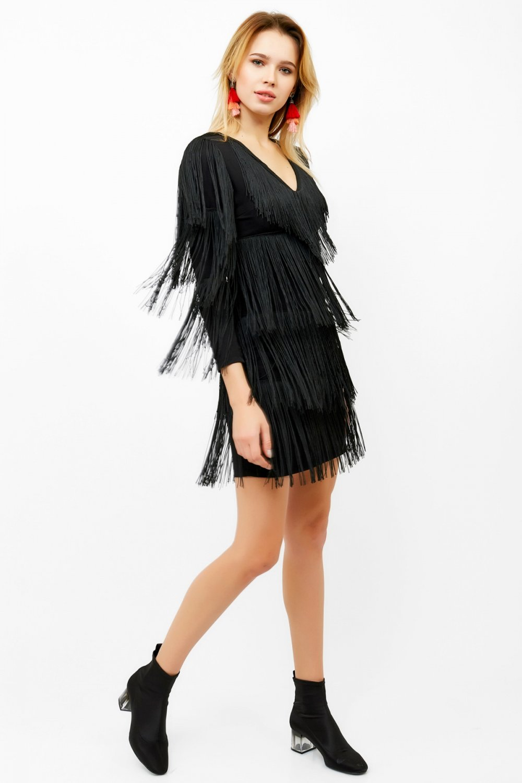 9ddb01ec1f35f Eka Siyah V Yaka Püsküllü Mini Abiye Elbise | ElbiseBul