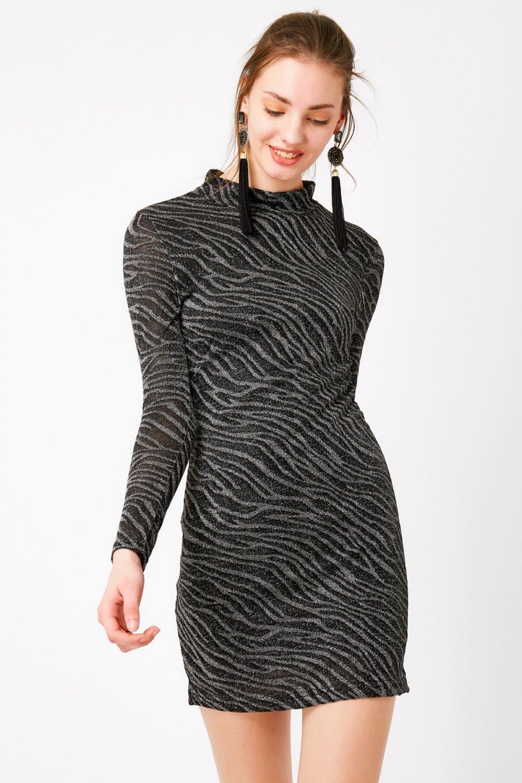 786dcb65e92e6 Eka Sırt Dekolteli Siyah Simli Mini Abiye Elbise | ElbiseBul