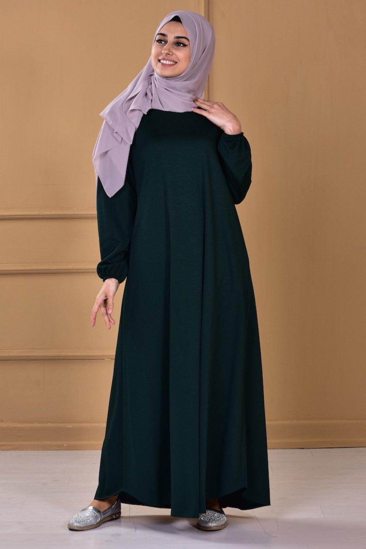 51ceb92db60da Sefamerve Yeşil Zümrüt Yeşili Kolu Lastikli Elbise | ElbiseBul