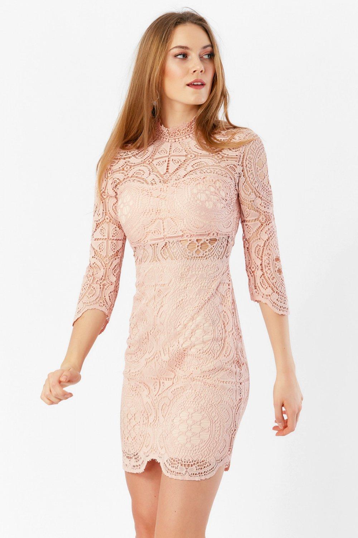 9b4487f11c500 Eka Pembe Pudra Dantel Arkası Fermuarlı Mini Abiye Elbise | ElbiseBul