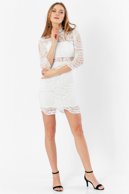 cb31e7709f4e6 Eka Ekru Dantel Arkası Fermuarlı Mini Abiye Elbise | ElbiseBul